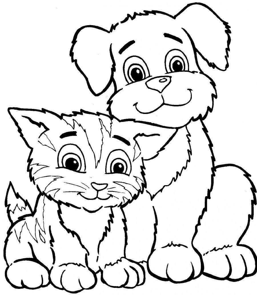Кошка и собака - раскраска №4   Printonic.ru