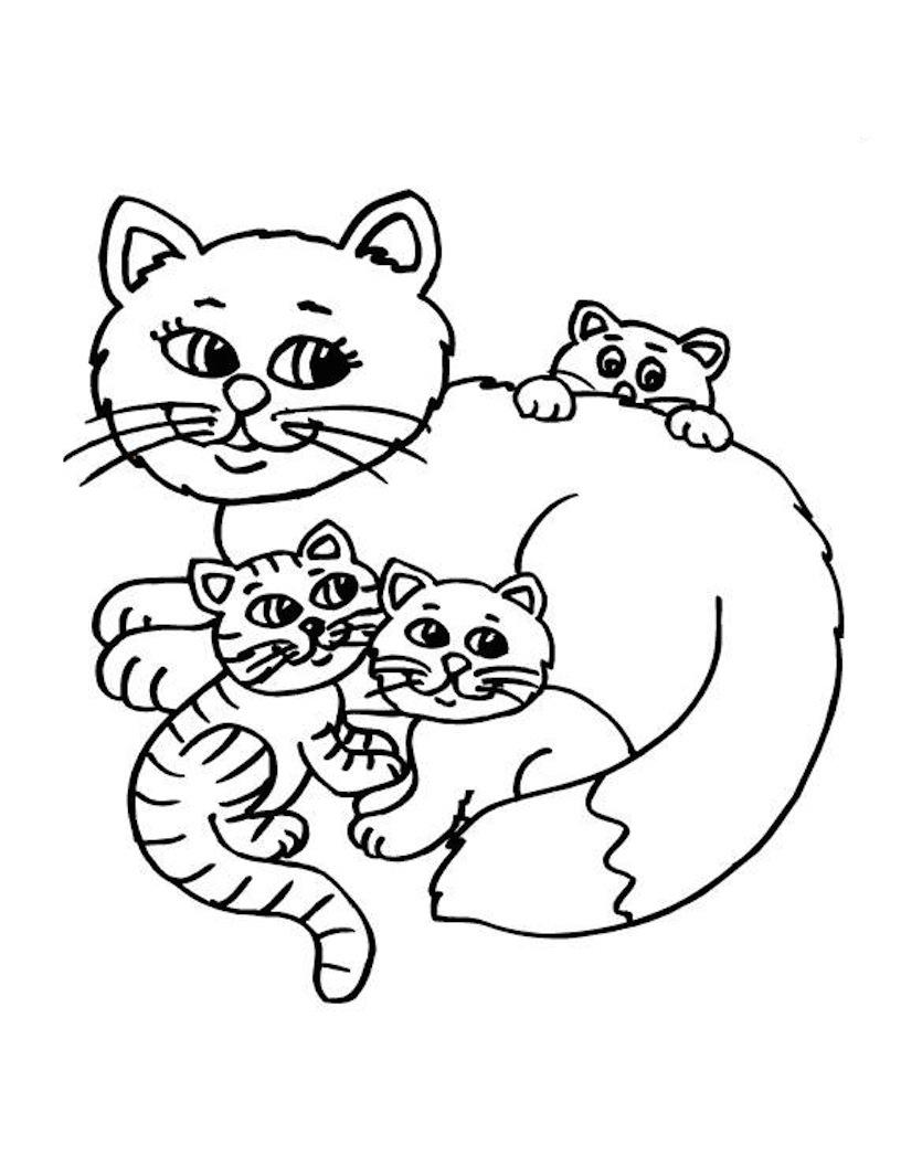 Кошка и котята - раскраска №3   Printonic.ru