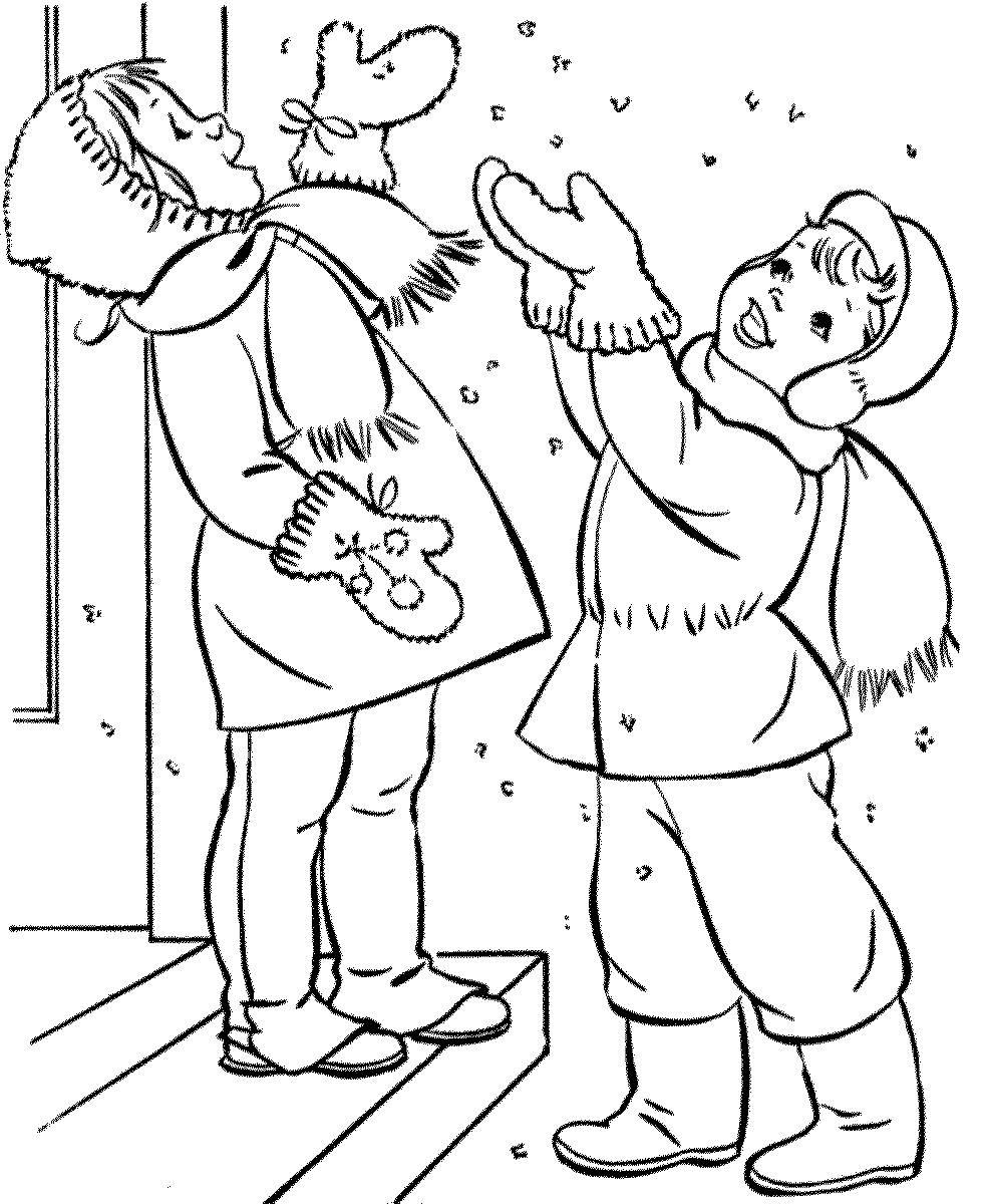 Мальчик и девочка радуются снежинкам - раскраска №44 ...