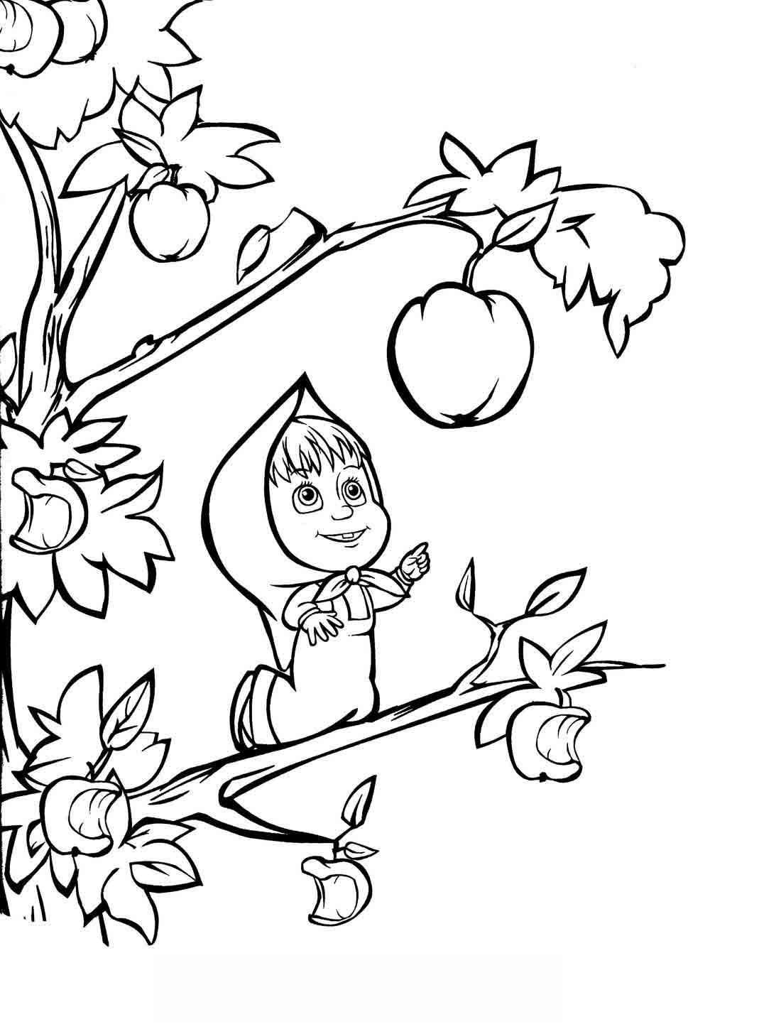 Маша с яблоком - раскраска №48 | Printonic.ru