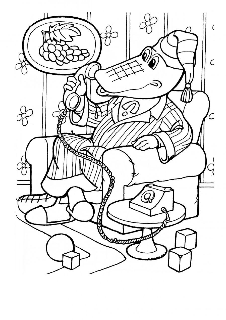 Крокодил Гена разговаривает по телефону - раскраска №69 ...