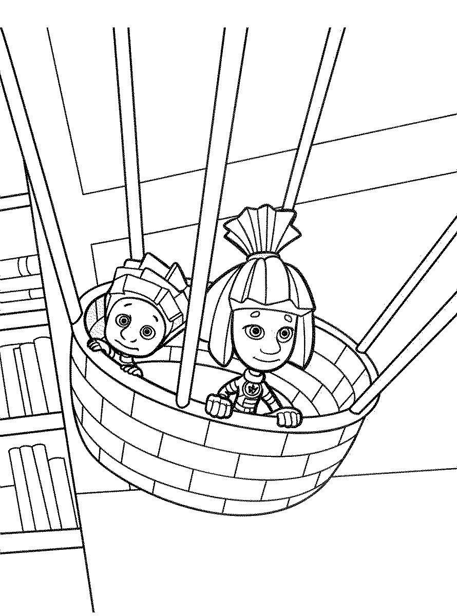 Нолик и Симка в корзине - раскраска №106 | Printonic.ru