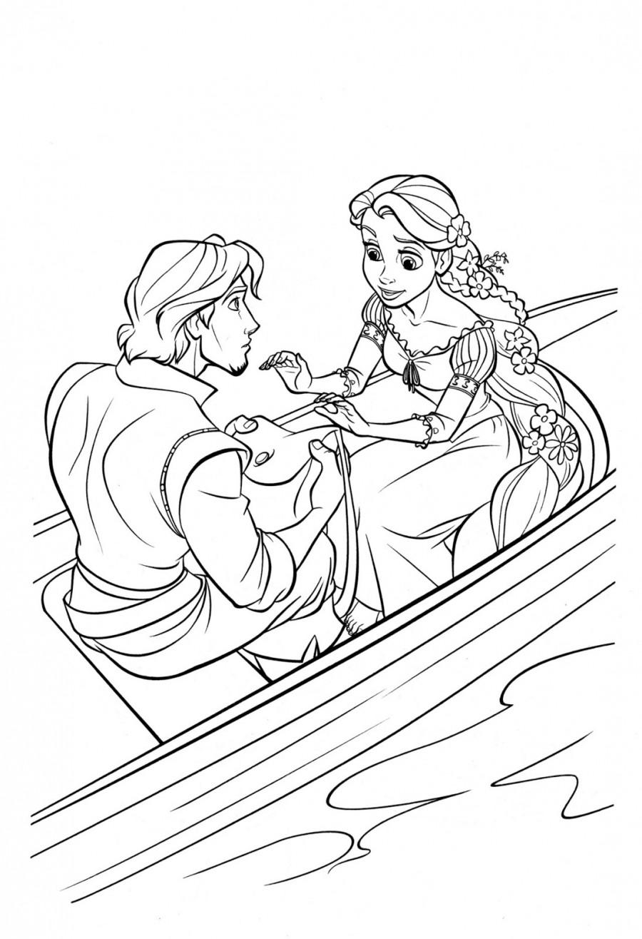 Рапунцель и Флин в лодке - раскраска №139 | Printonic.ru