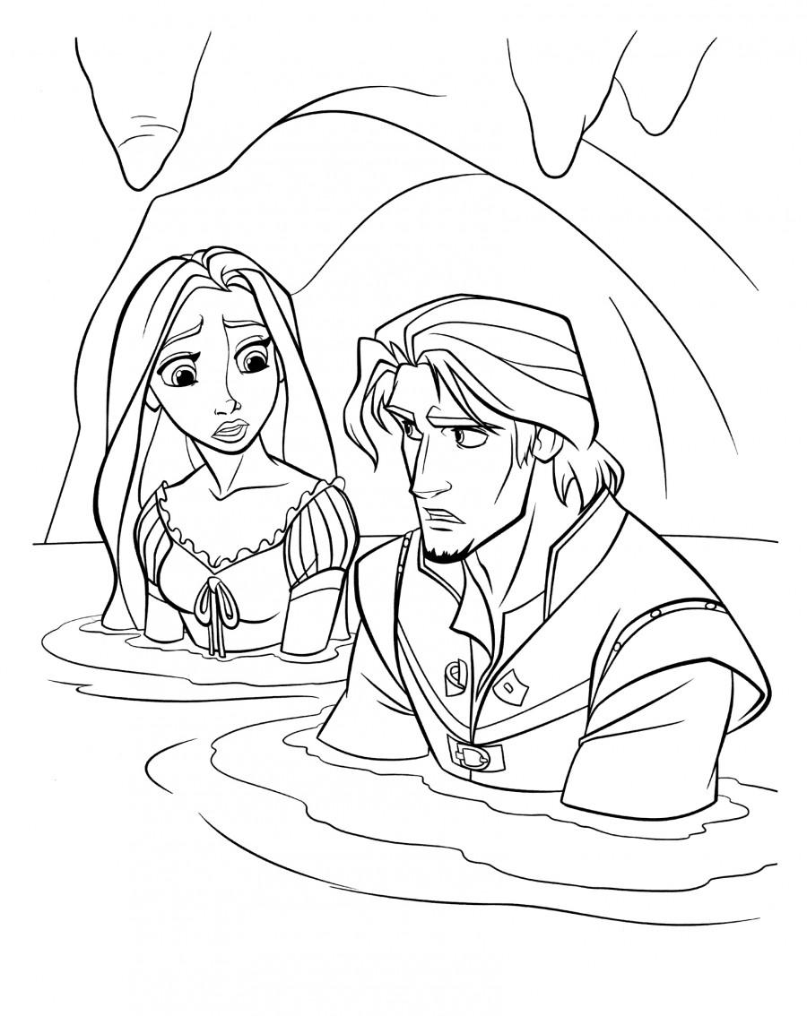 Флин и Рапунцель в пещере с водой - раскраска №150 ...