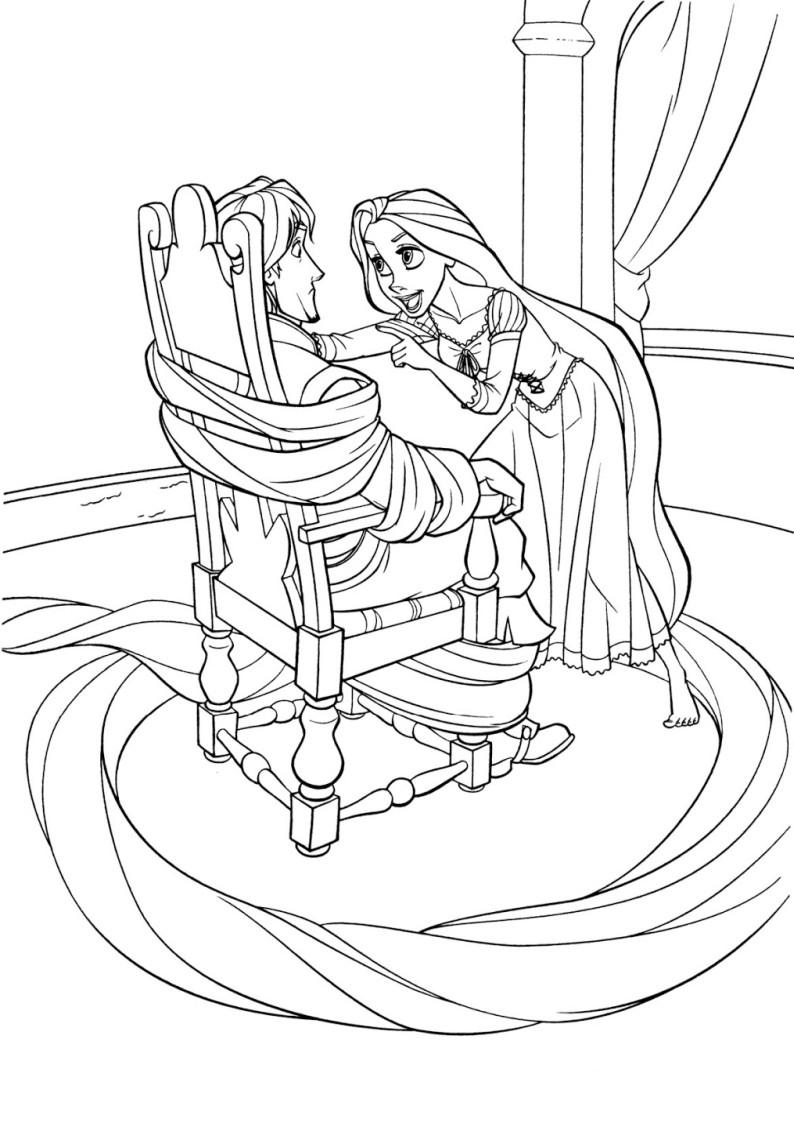 Рапунцель связала Флина волосами - раскраска №152 ...
