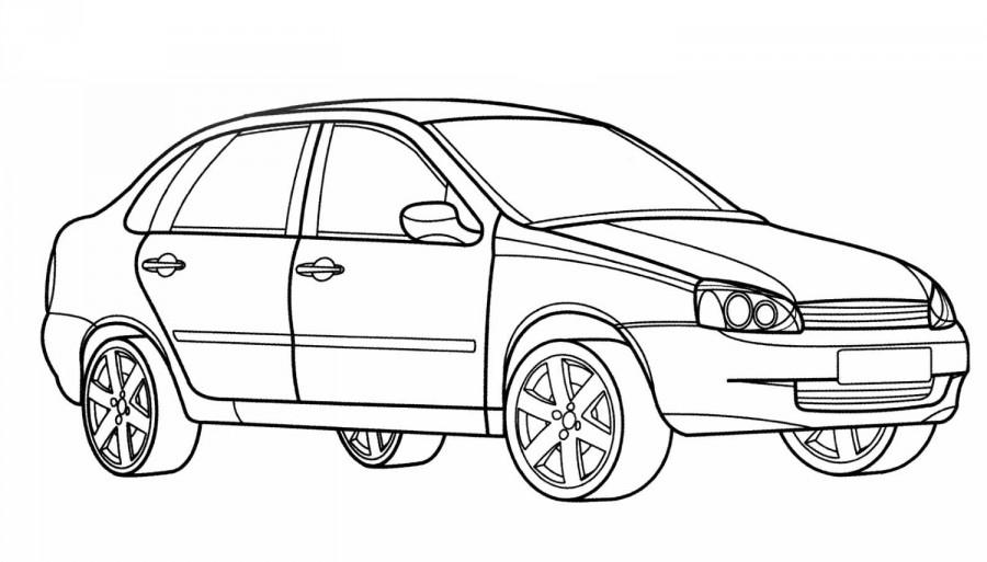 Автомобиль ВАЗ Калина - раскраска №254 | Printonic.ru