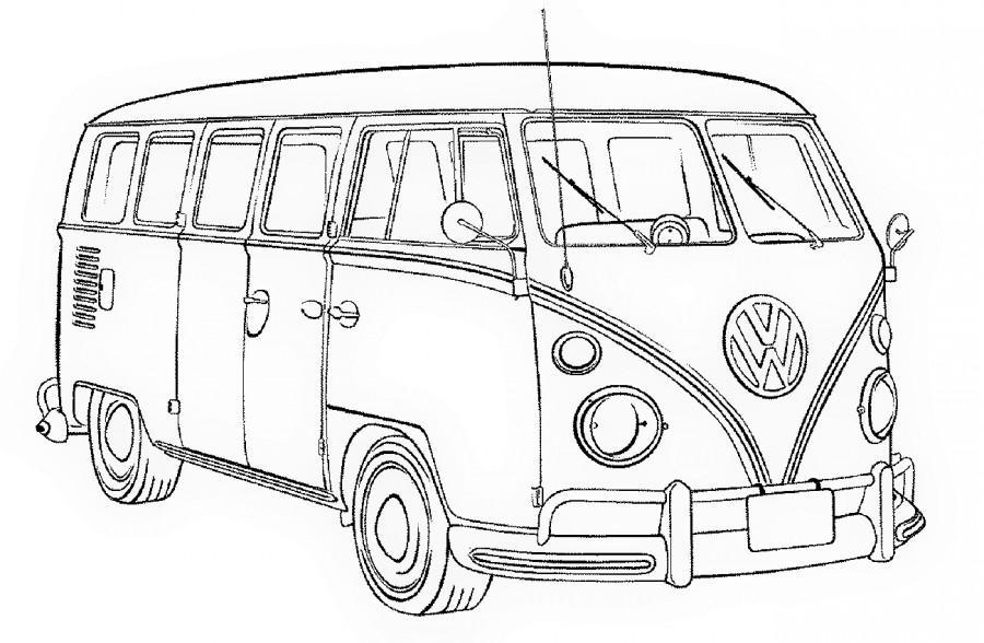 Машина автобус Фольксваген ретро - раскраска №264 ...