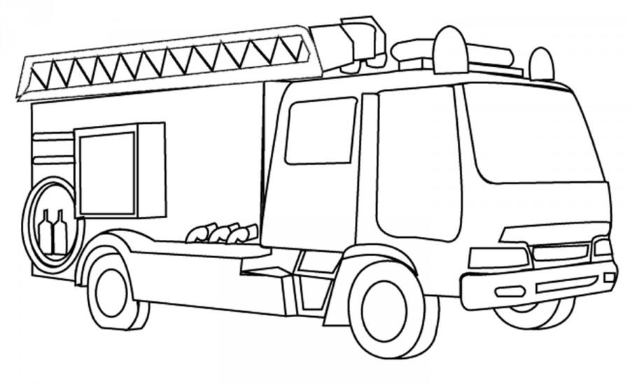 Пожарная машина с летсницей - раскраска №276 | Printonic.ru