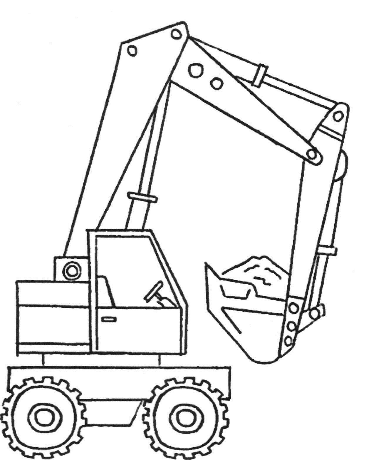 Строительный кран с ковшом - раскраска №214   Printonic.ru