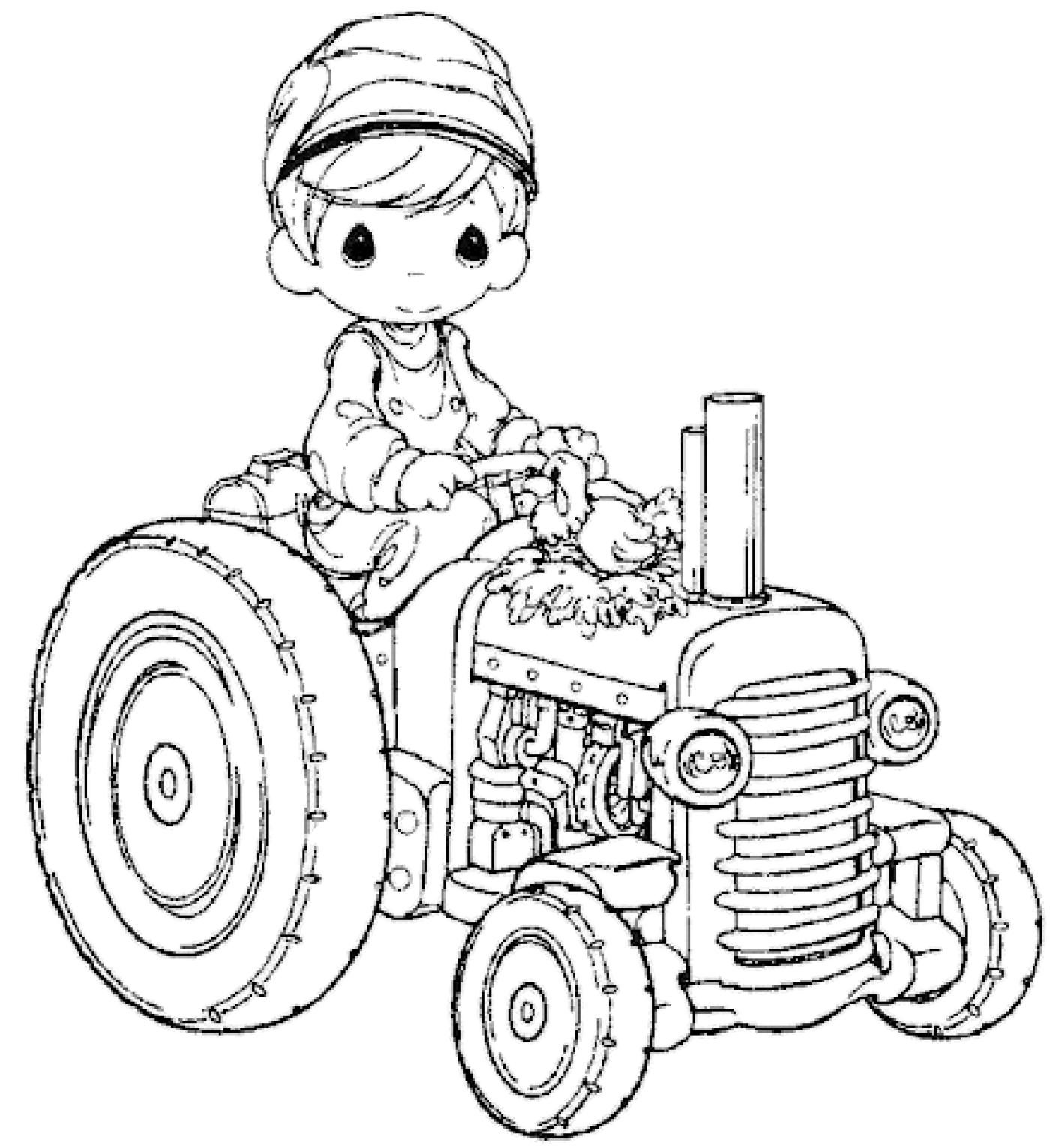 Трактор с мальчиком и курочкой - раскраска №223 | Printonic.ru