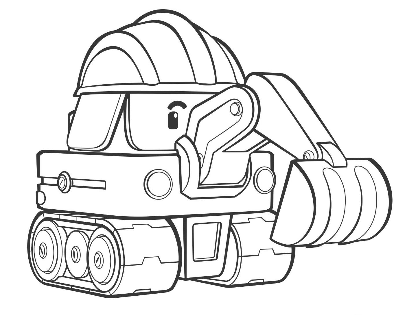 Экскаватор с глазами - раскраска №238 | Printonic.ru