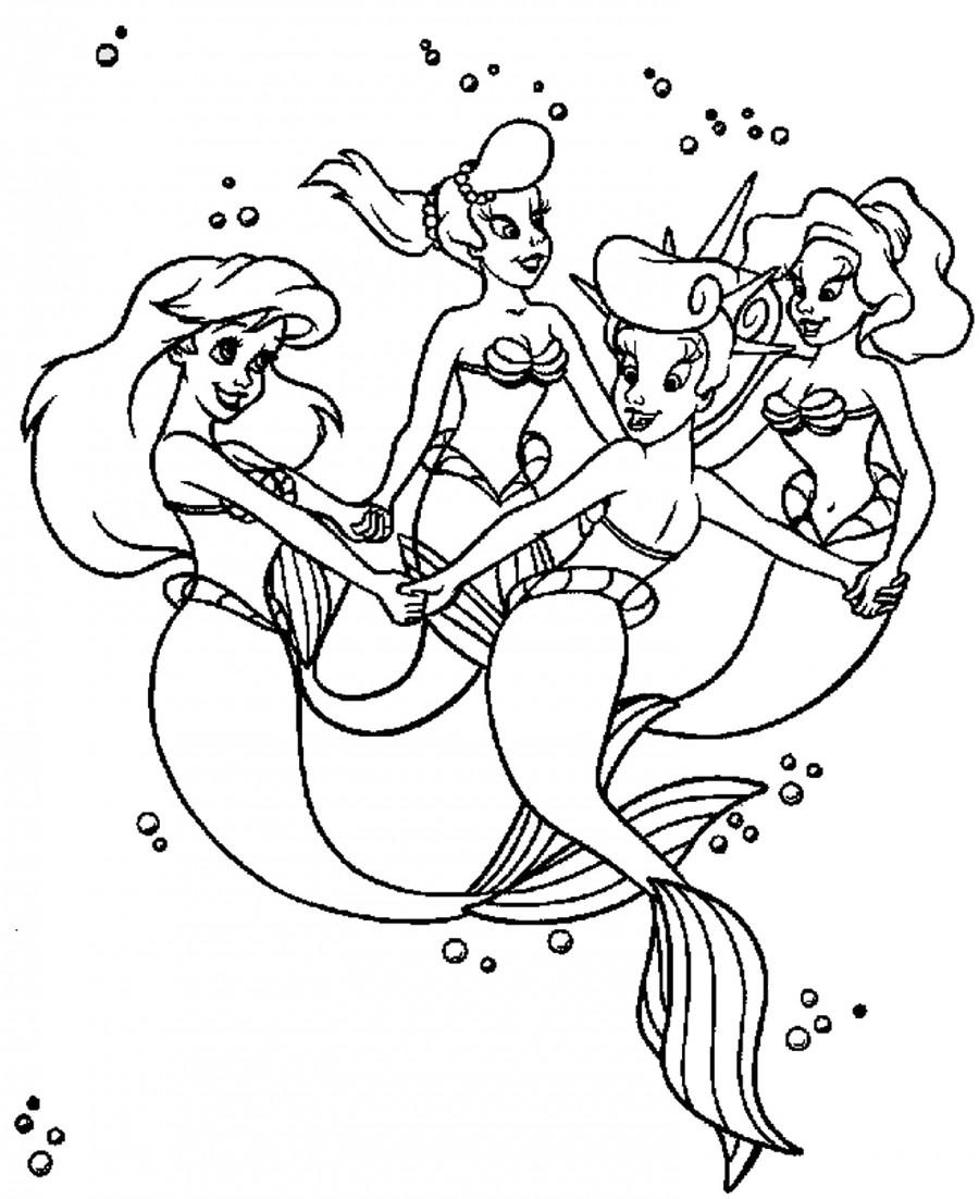 Русалочка Ариэль с сестрами - раскраска №287 | Printonic.ru