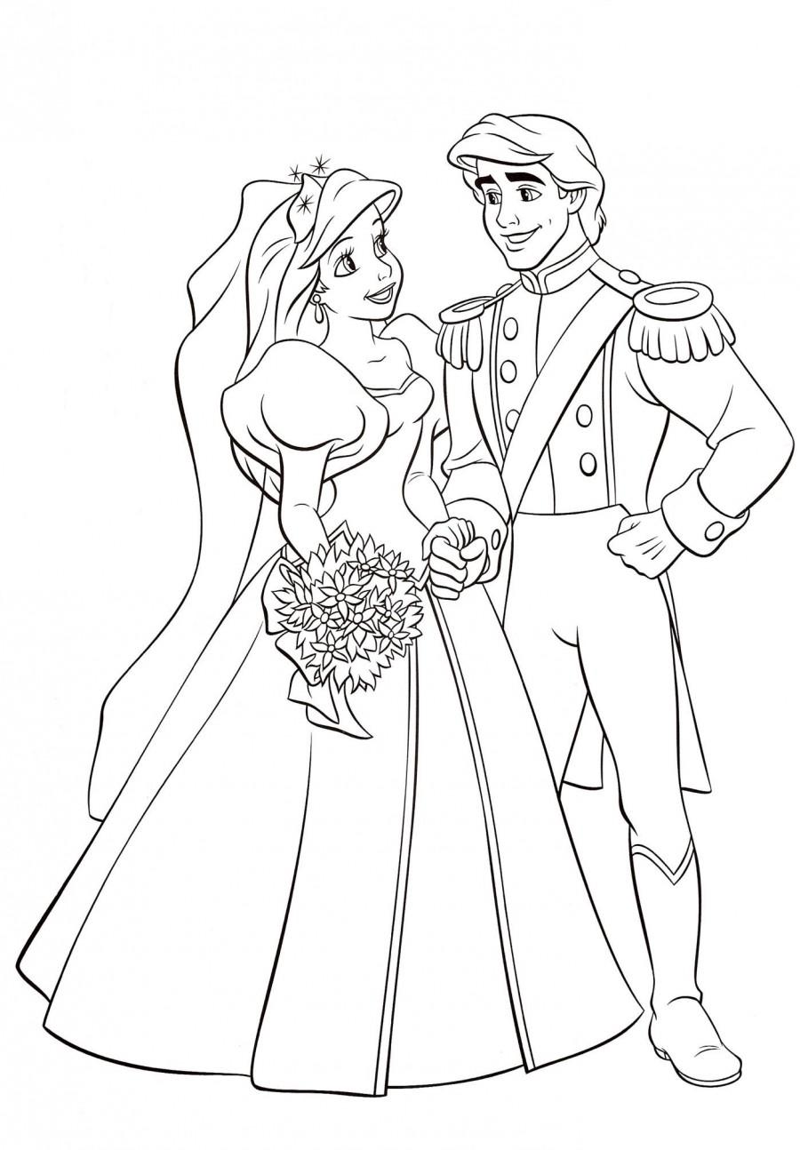 Ариэль и Эрик женятся - раскраска №313 | Printonic.ru