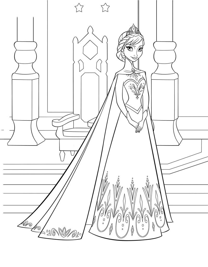 Эльза в замке - раскраска №348 | Printonic.ru
