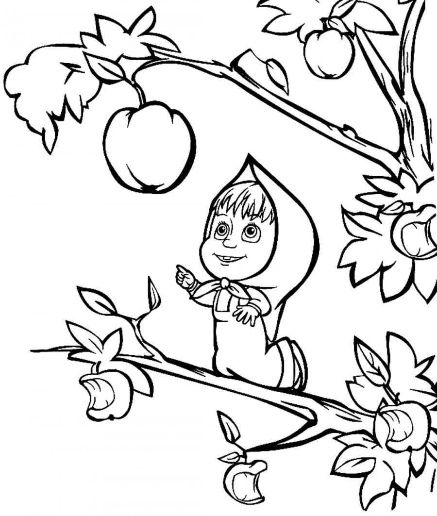 Маша на ветке хочет яблоко - раскраска №424   Printonic.ru