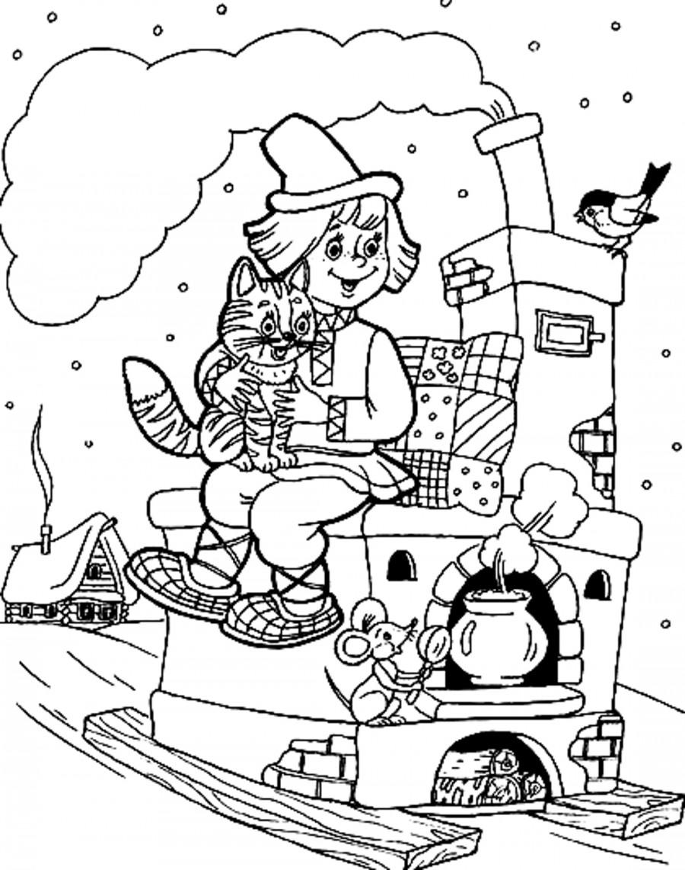 Емеля на печке с котом - раскраска №458 | Printonic.ru