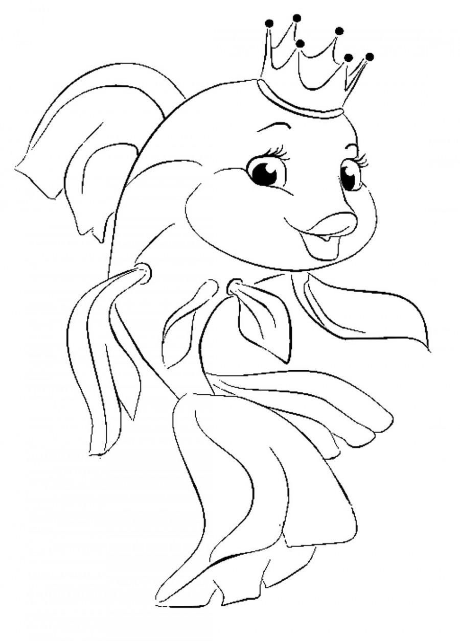 Красивая золотая рыбка - раскраска №522   Printonic.ru