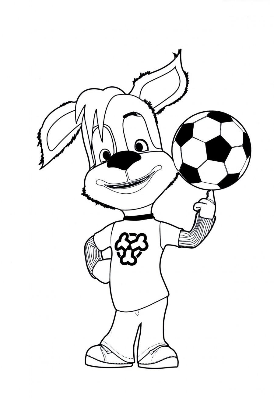 Дружок с мячом - раскраска №600 | Printonic.ru