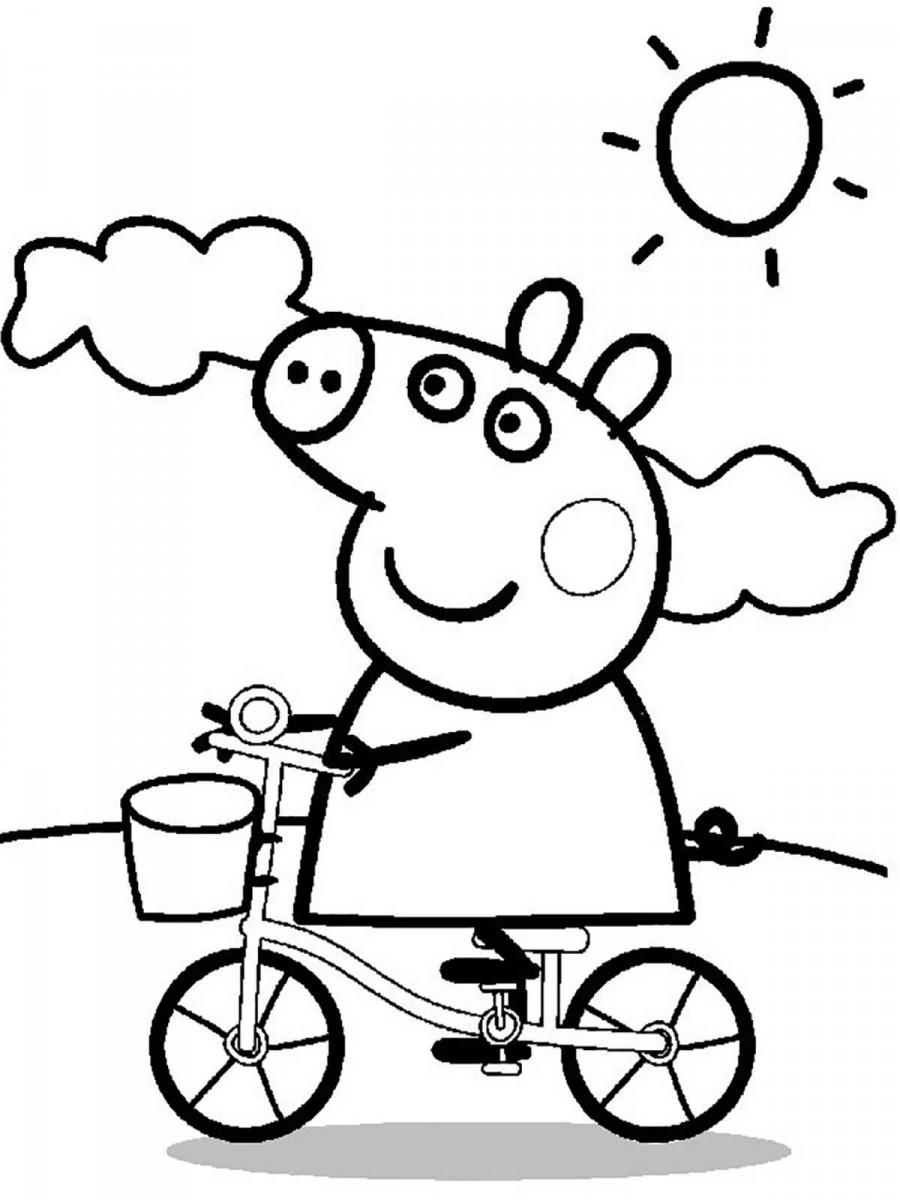 Свинка Пеппа едет на велосипеде - раскраска №611 ...