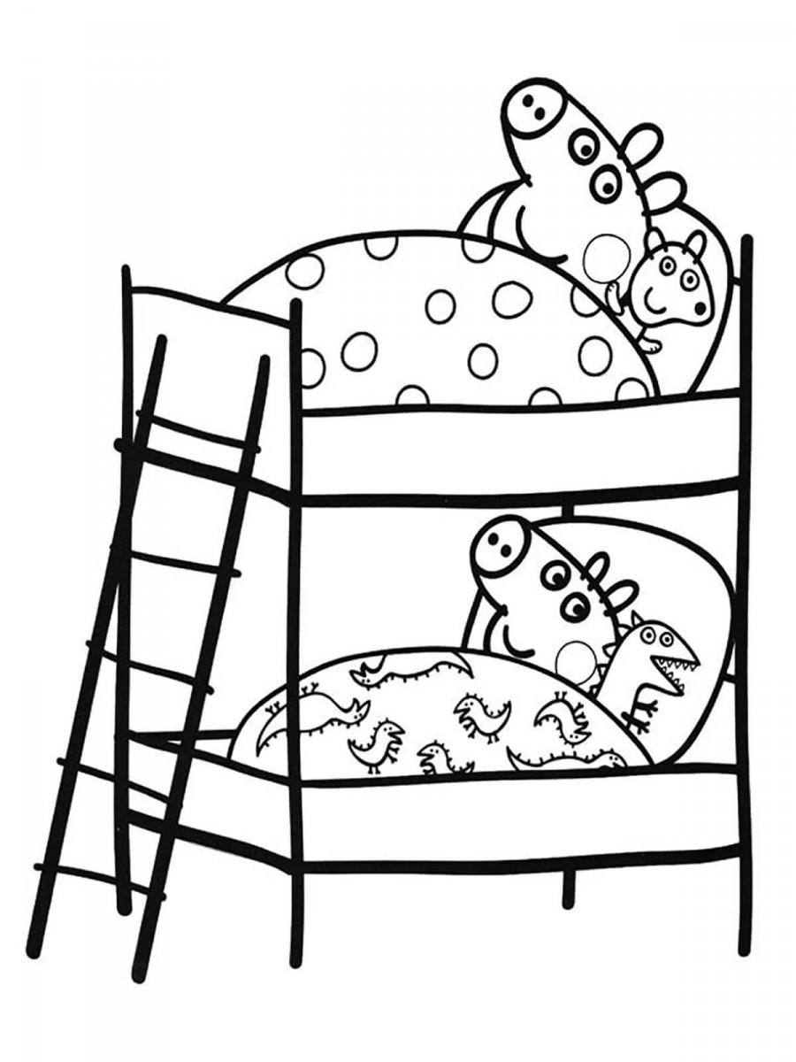 Свинка Пеппа и Джордж на кроватях - раскраска №618 ...