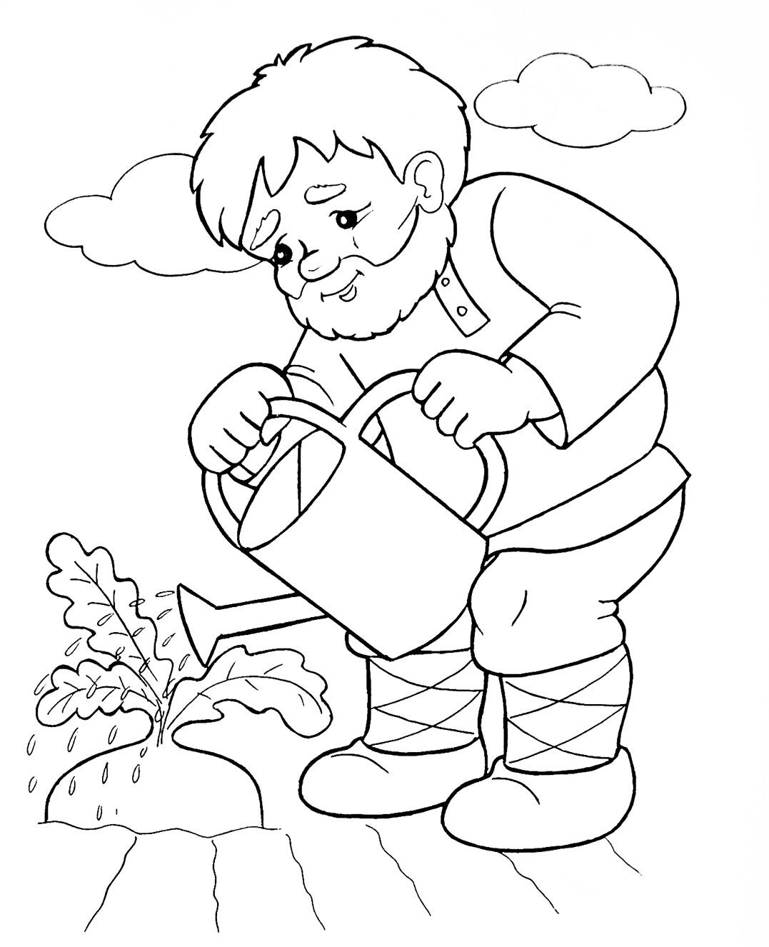 Иллюстрации к сказке репка картинки для детей для раскраски