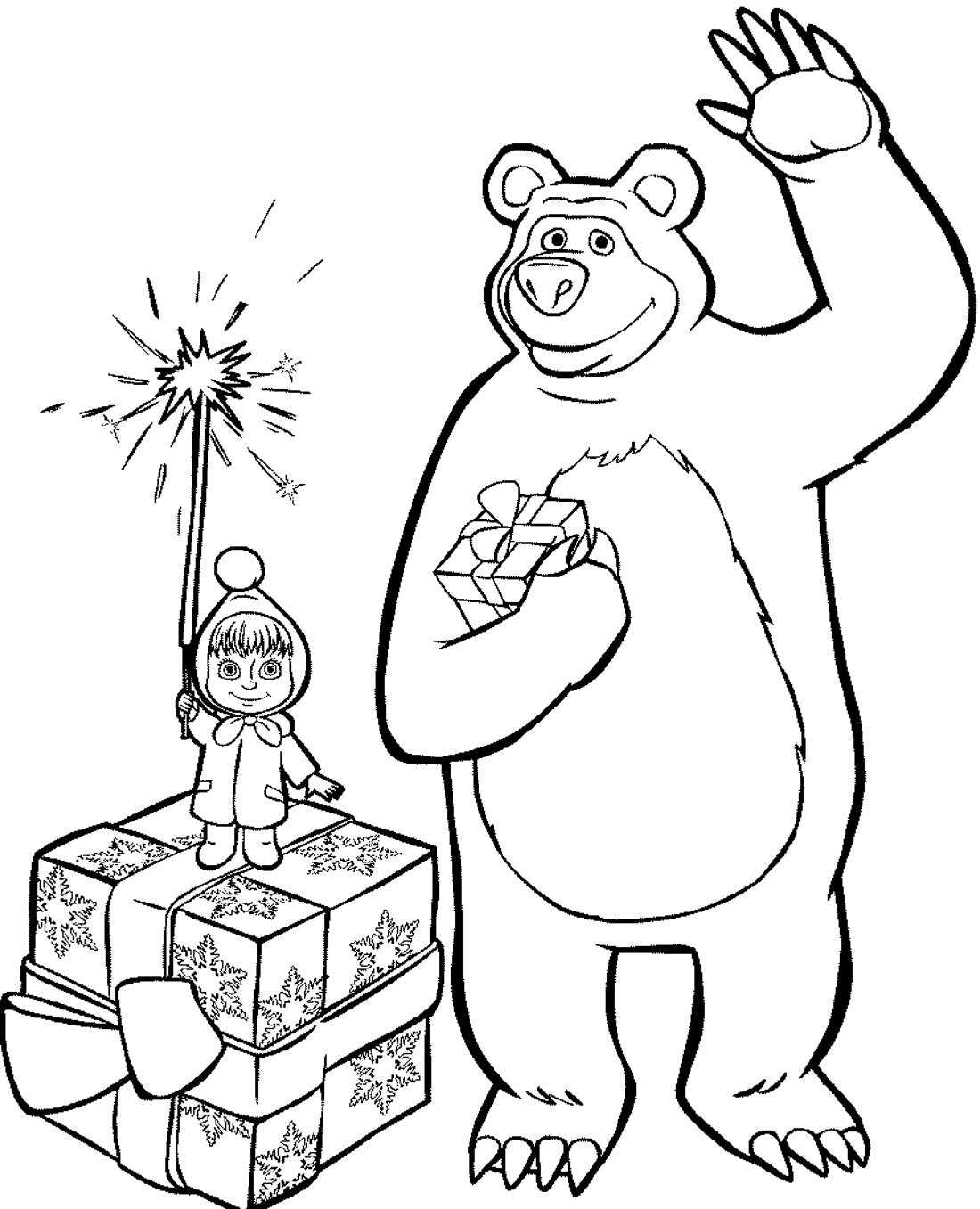 Маша и Медведь на Новый Год - раскраска №418 | Printonic.ru
