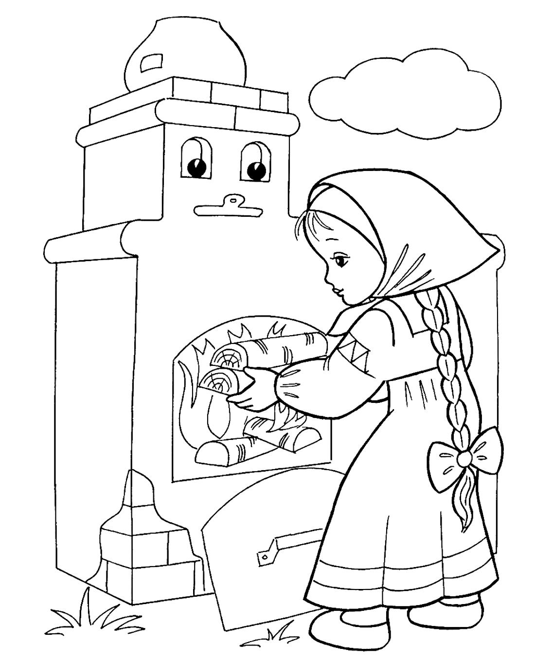 Картинки для раскраски печь