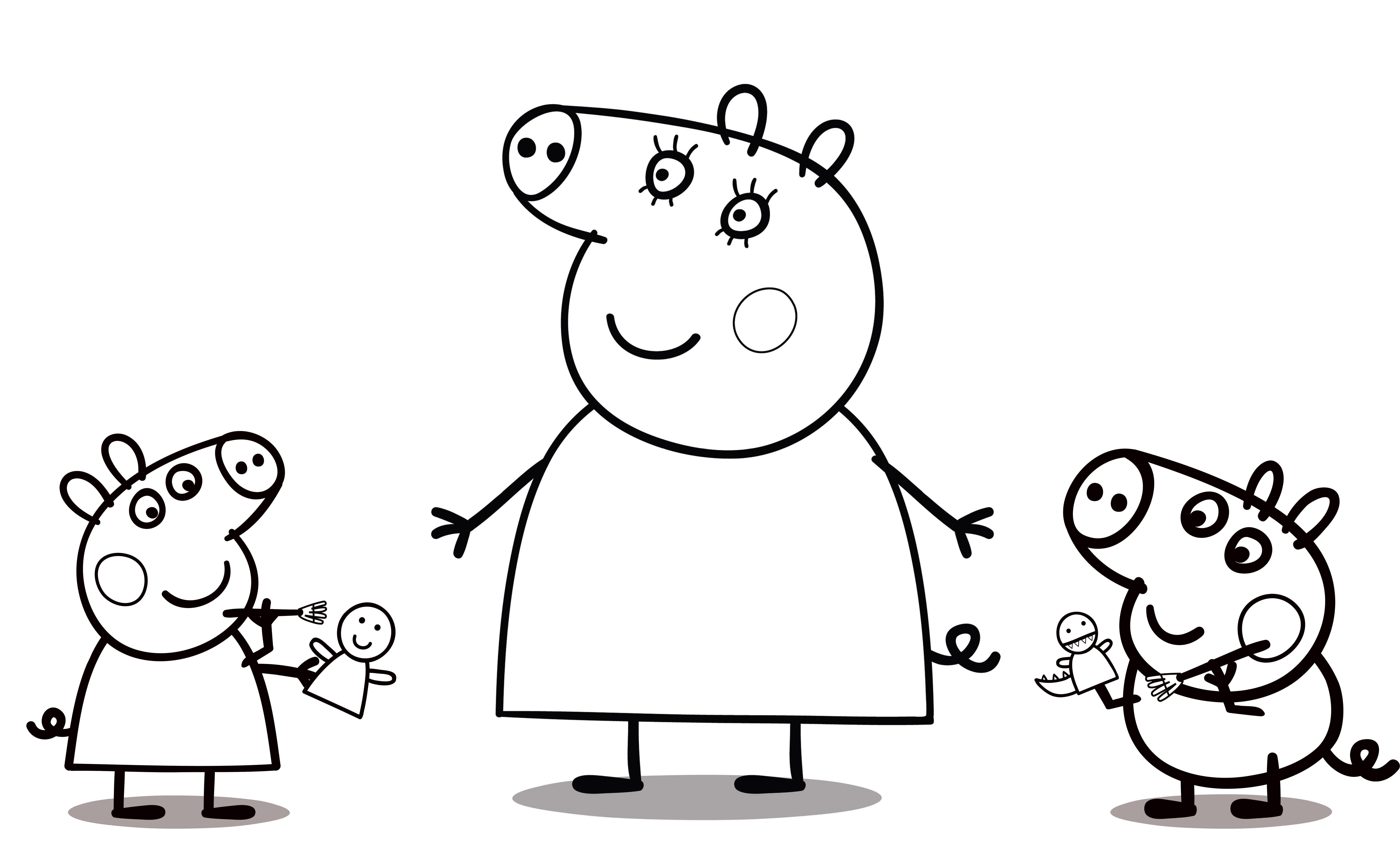 Свинка Пеппа с игрушками - раскраска №609 | Printonic.ru