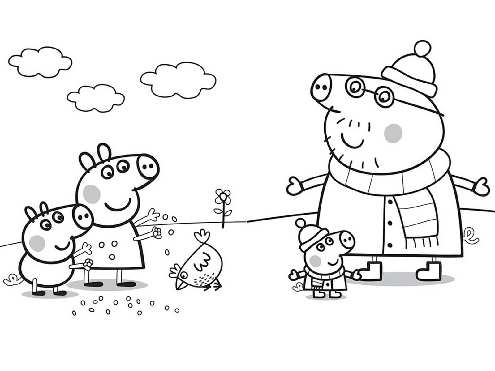 Семья Свинки Пеппы зимой - раскраска №615 | Printonic.ru