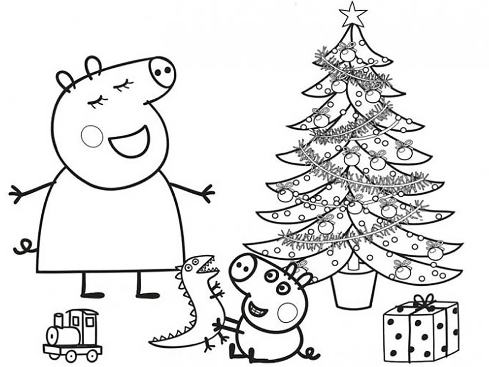 Мама Свинка и Джордж около елки - раскраска №619 ...
