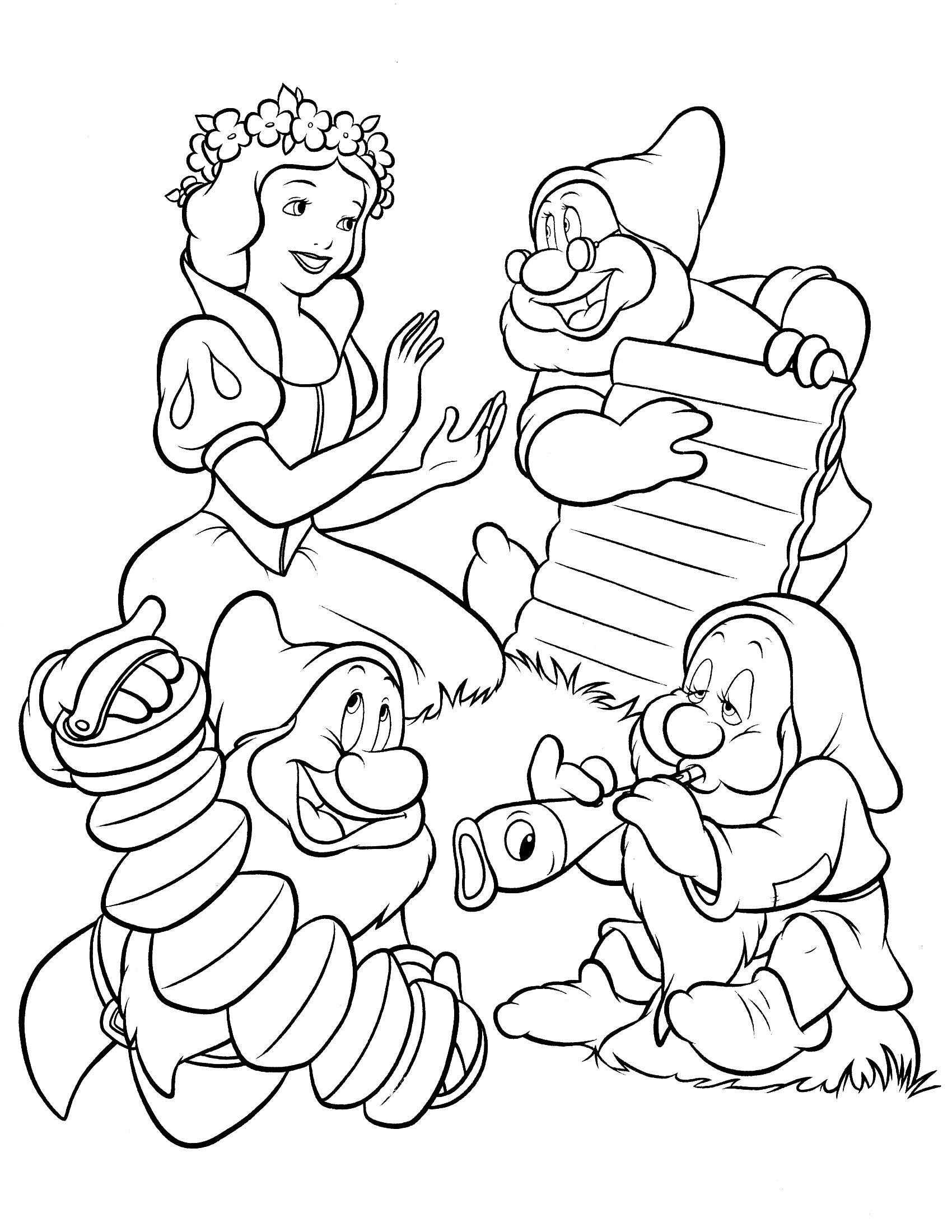 Белоснежка и семь гномов черно белая картинка