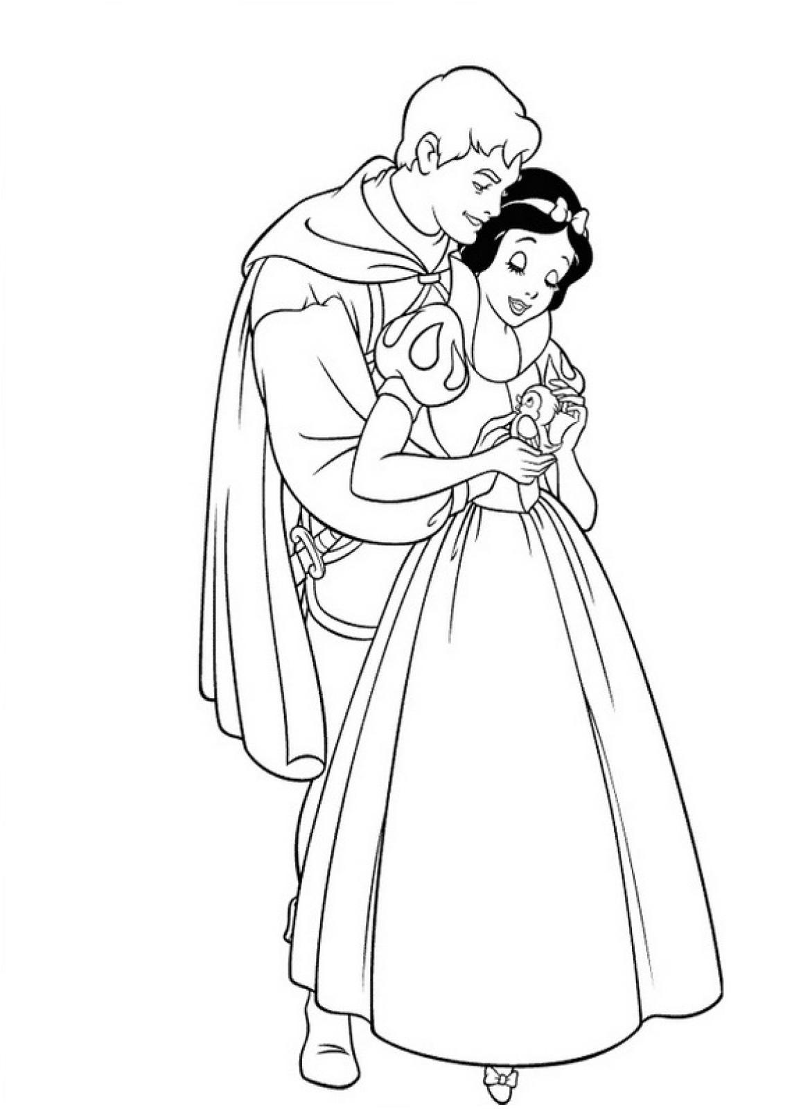 Принц и Белоснежка обнимаются - раскраска №641 | Printonic.ru
