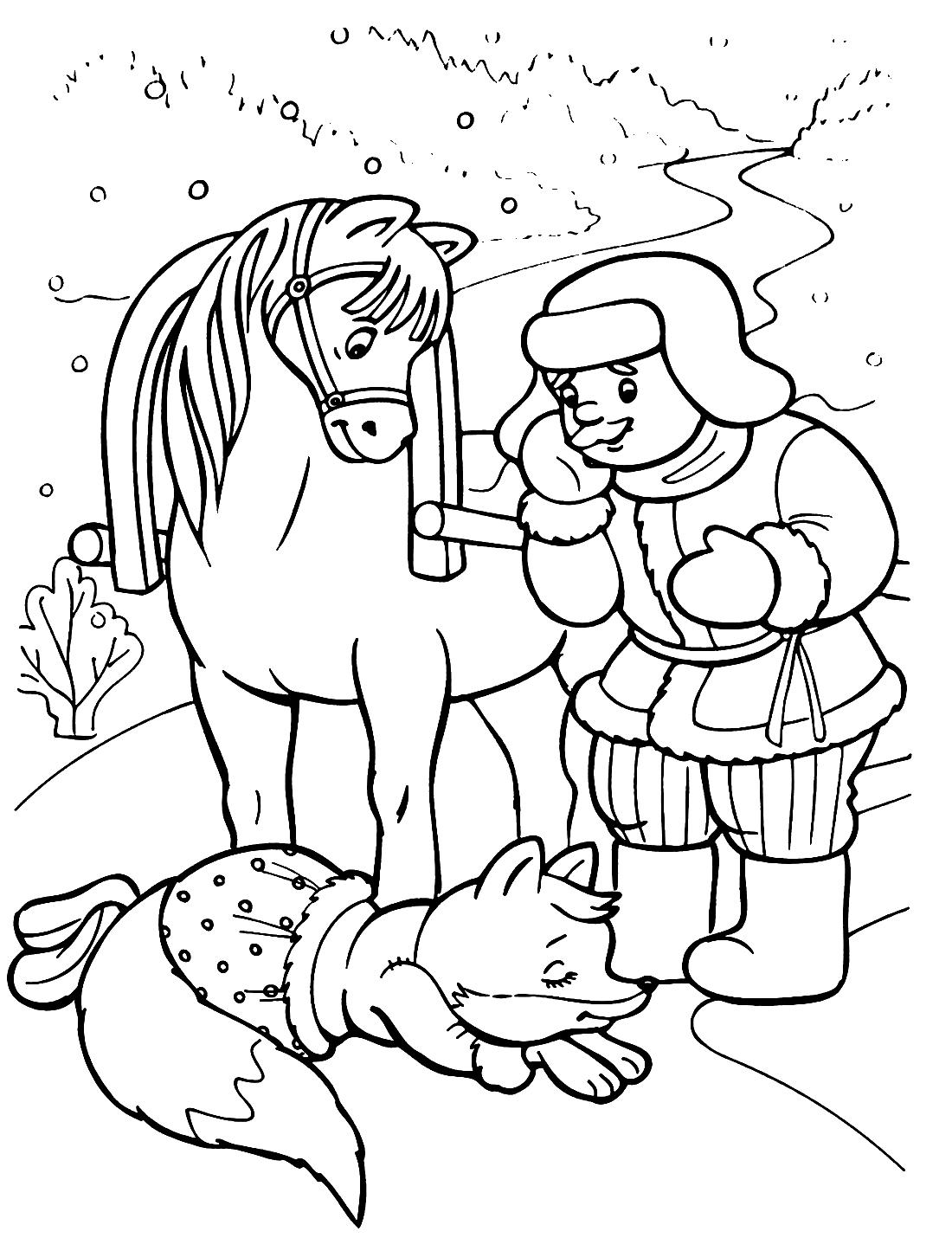 Лиса и мужик - раскраска №658 | Printonic.ru