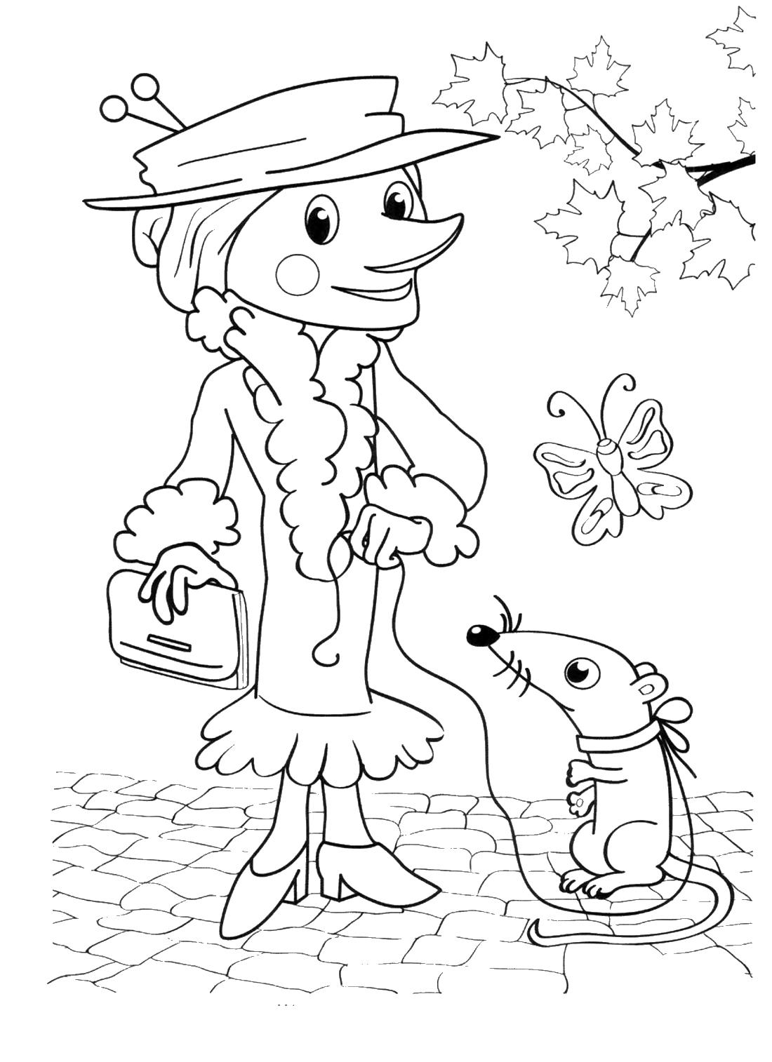 Старуха Шапокляк и крыса Лариса - раскраска №692 ...