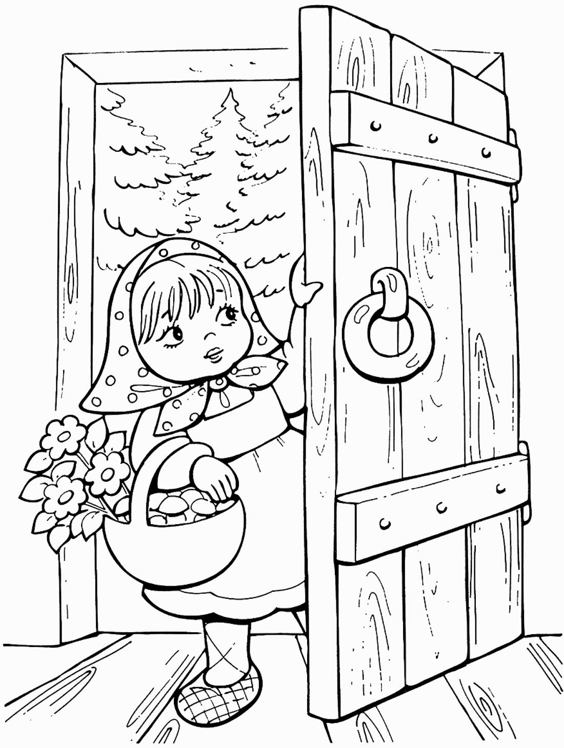 Картинки к сказке маша и медведь раскраска