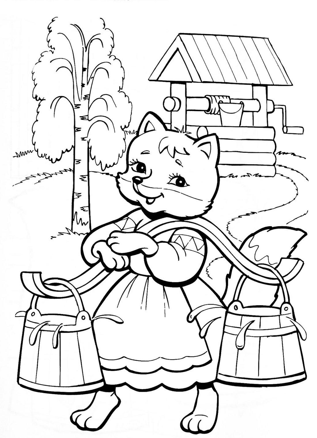 Лиса готовит угощенье журавлю - раскраска №791 | Printonic.ru