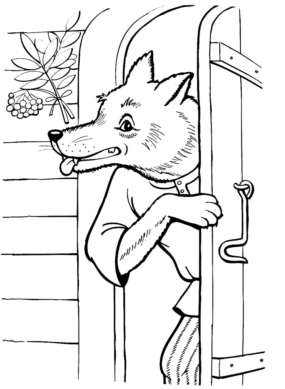 Волк ворвался в дом козлят - раскраска №802 | Printonic.ru