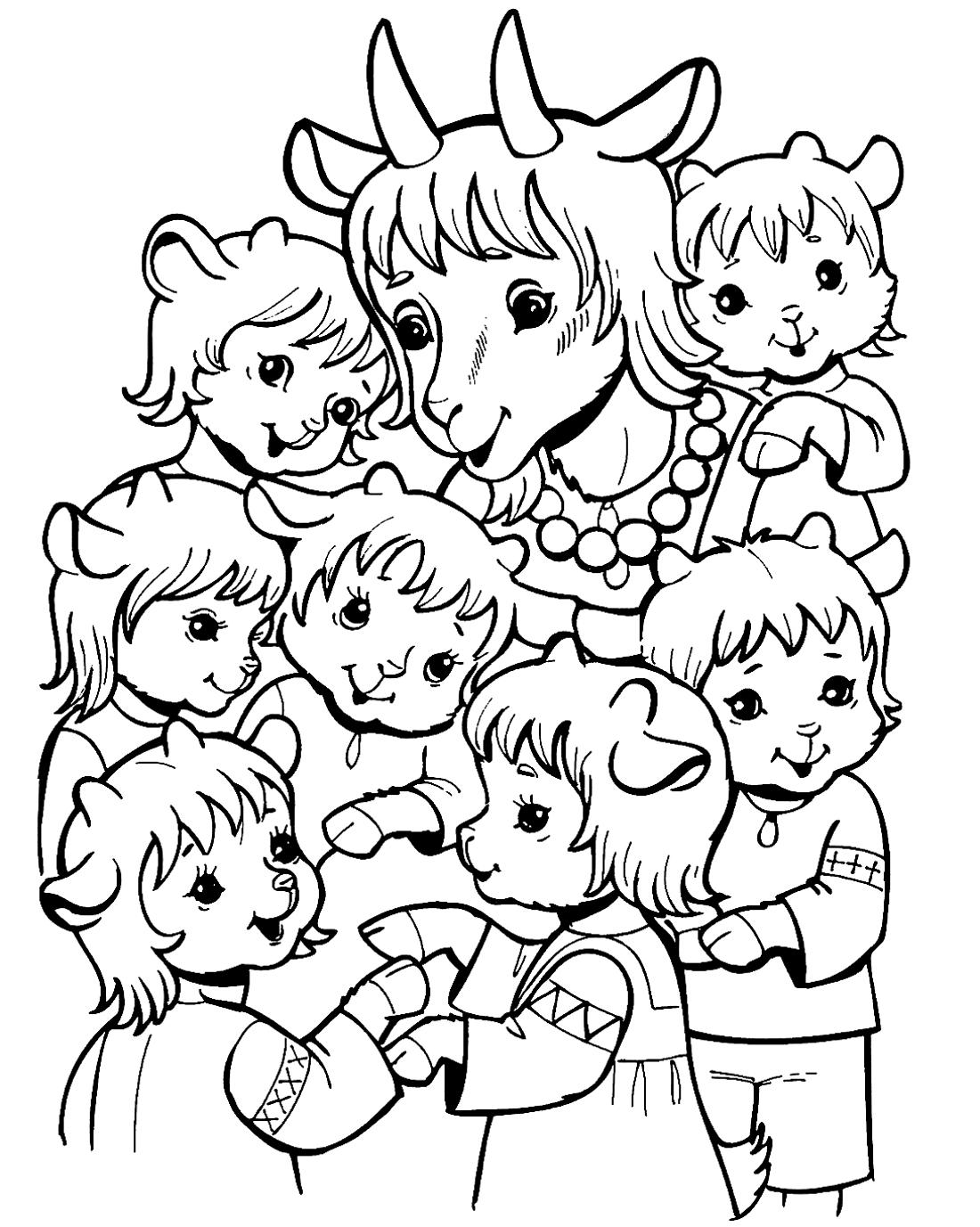 Мама с козлятами - раскраска №816 | Printonic.ru