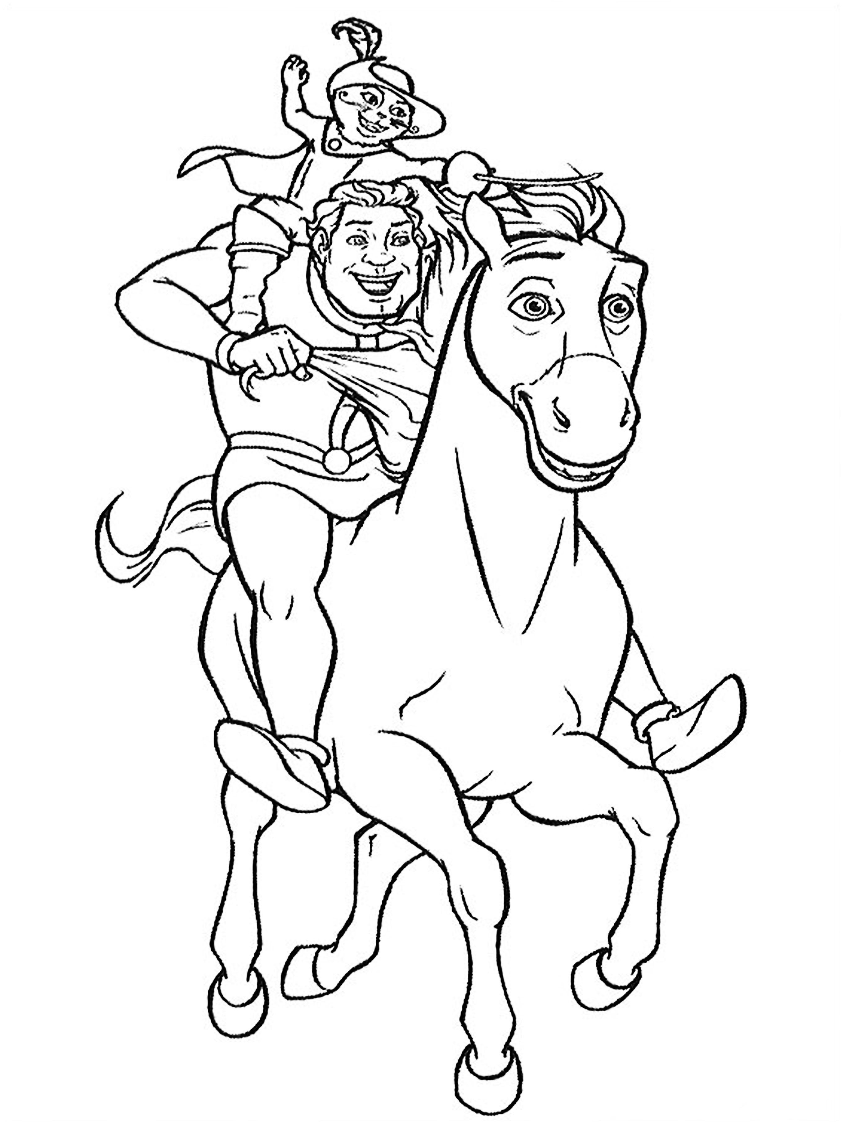 Шрек на коне с котом - раскраска №863 | Printonic.ru