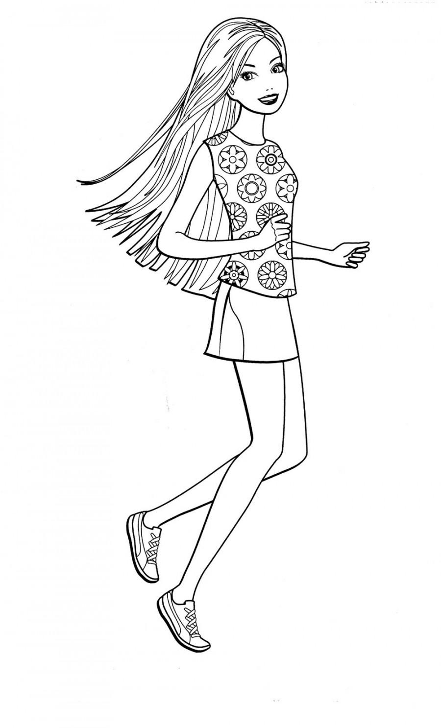 Барби занимается бегом - раскраска №873 | Printonic.ru