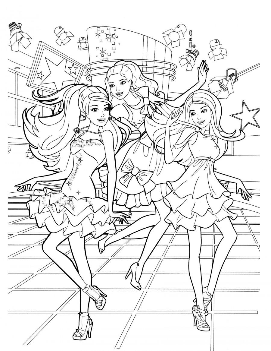 Барби с подружками на дискотеке - раскраска №901 ...