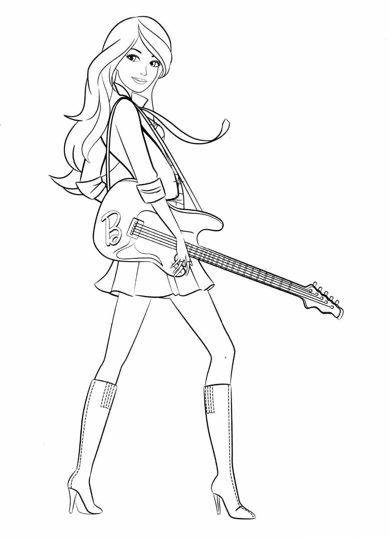 Барби с гитарой - раскраска №891 | Printonic.ru