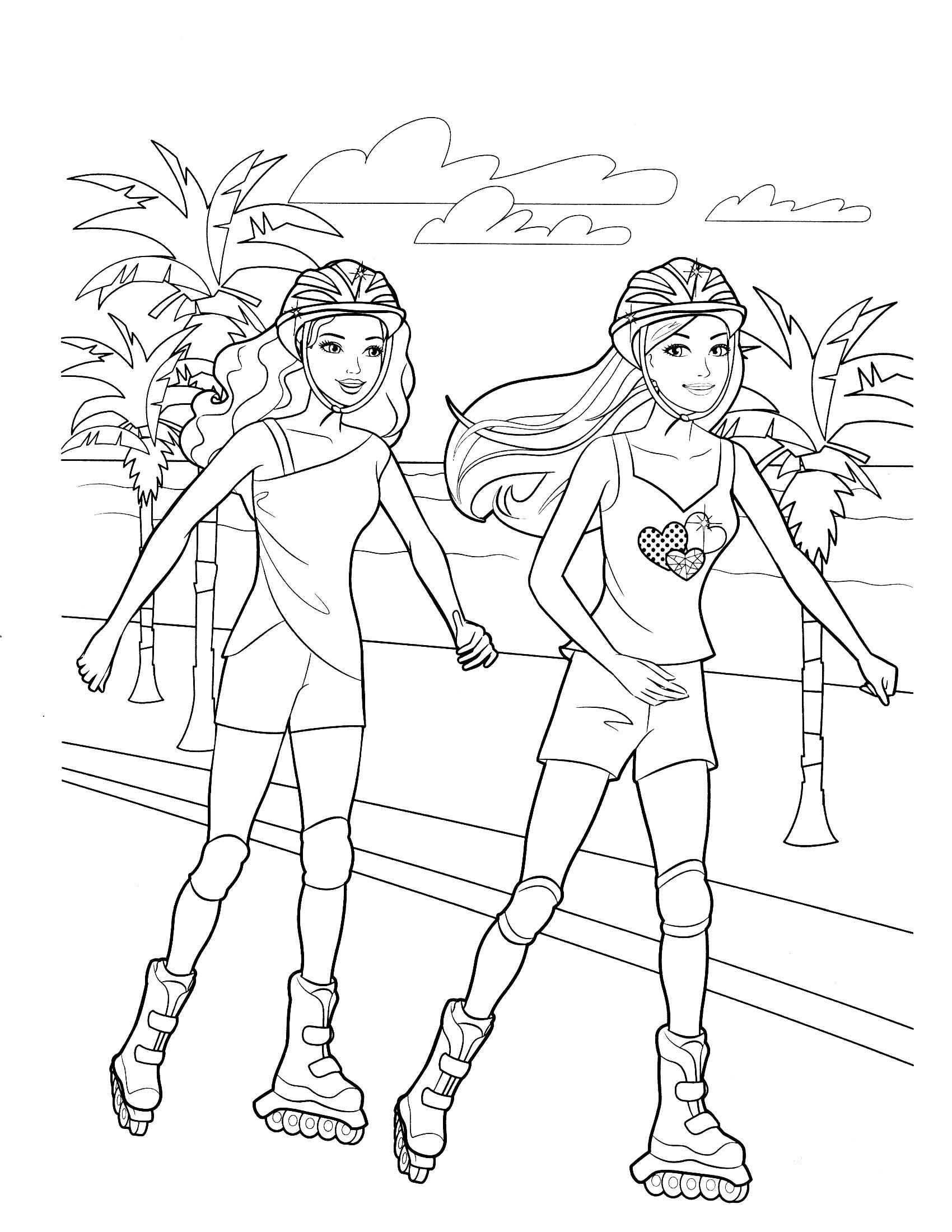 Барби с подругой катаются на роликах - раскраска №900 ...