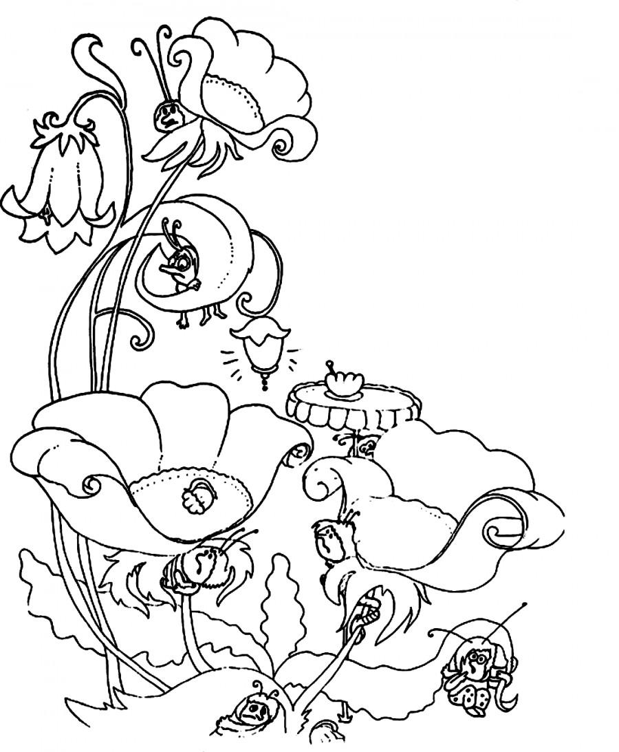 Насекомые прячутся от паука - раскраска №911   Printonic.ru