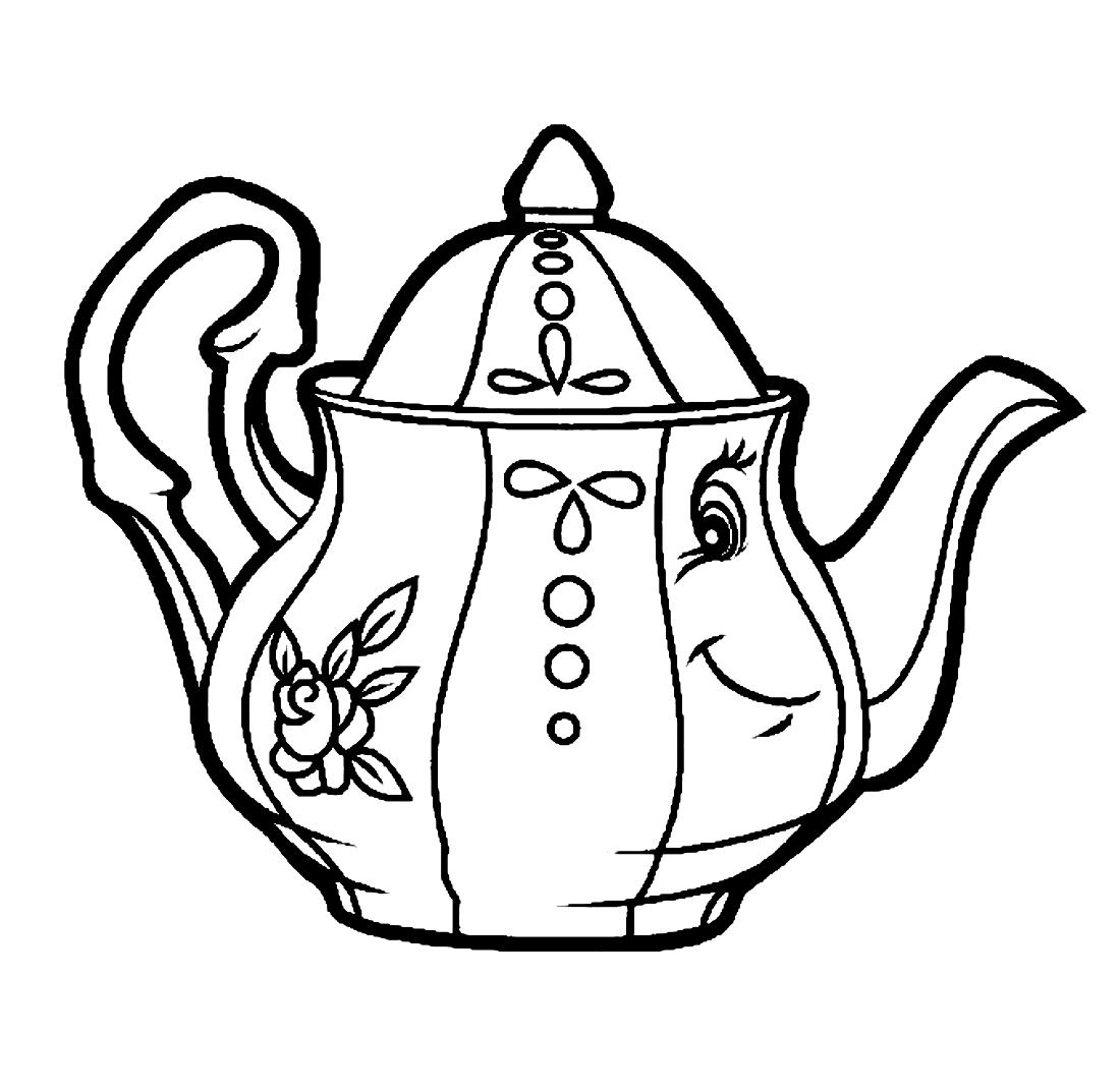 Чайник с улыбкой - раскраска №951 | Printonic.ru