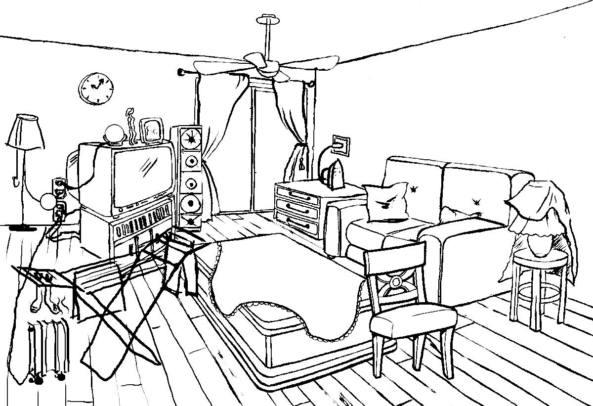 Картинка моя комната раскраска для детей
