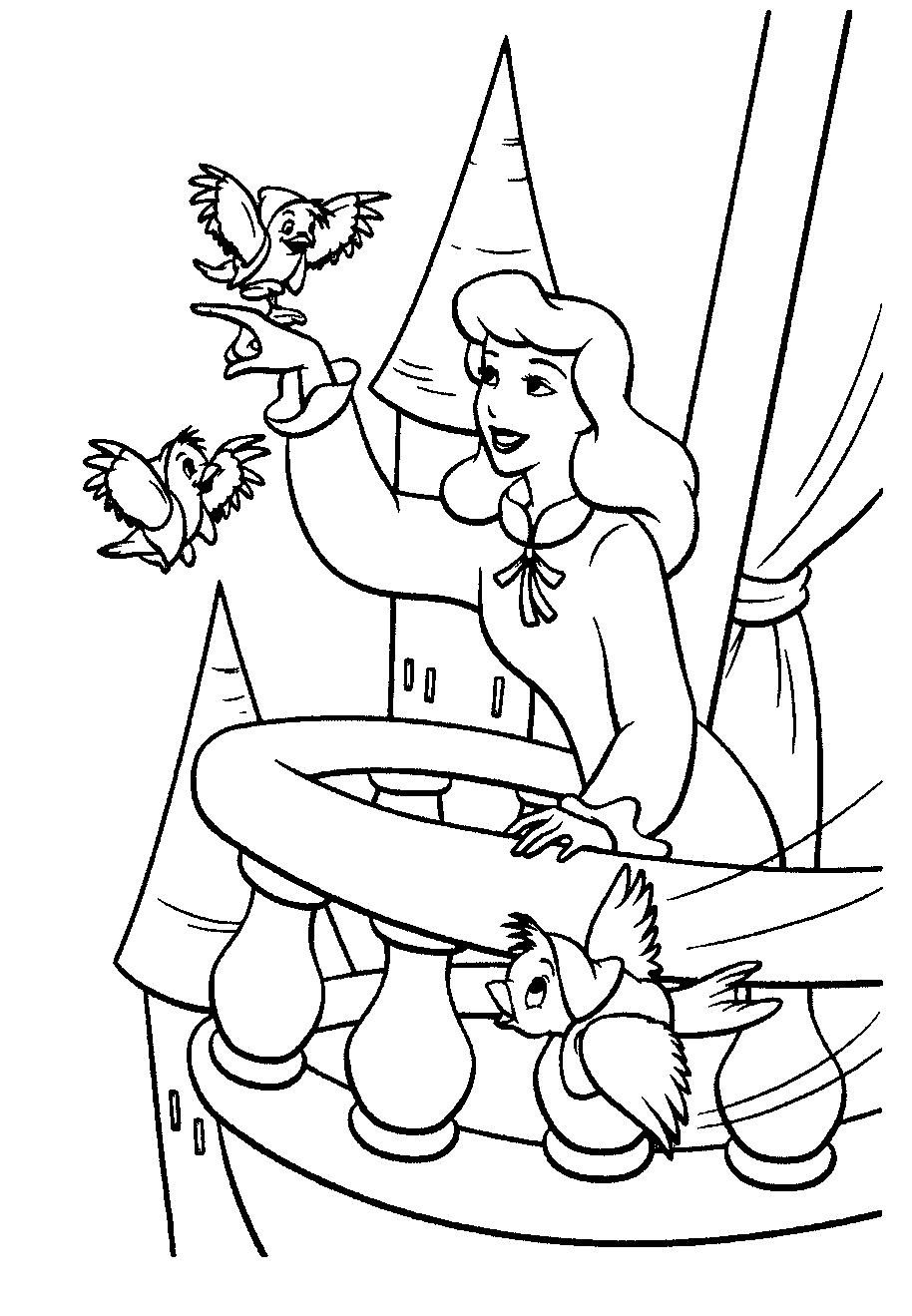 Золушка играет с птичками - раскраска №1017 | Printonic.ru