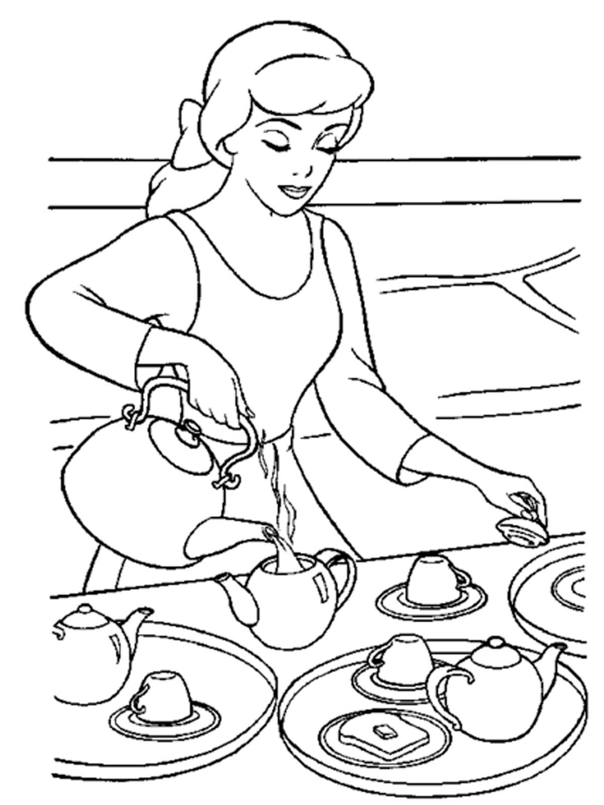 Золушка наливает чай - раскраска №1019 | Printonic.ru