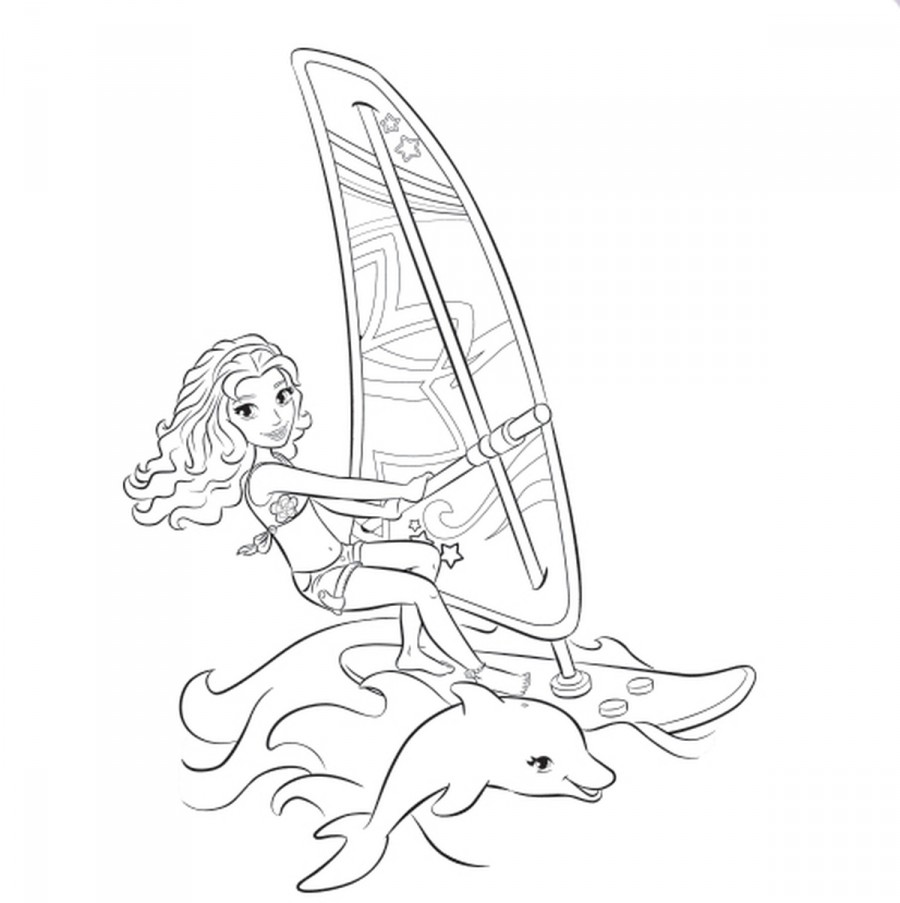 Оливия плавает с дельфином - раскраска №1056 | Printonic.ru