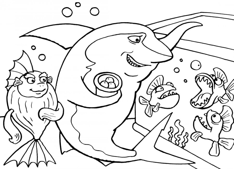 Акула и аквариум - раскраска №1061 | Printonic.ru